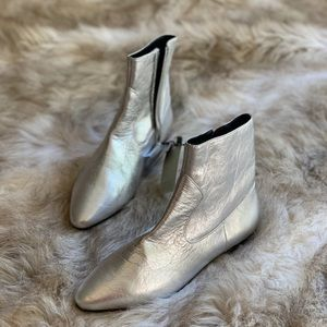 ZARA SILVER FLAT ANKLE BOOTS